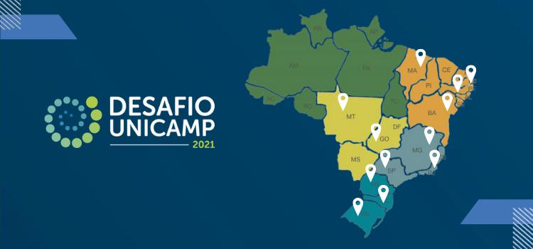 Mapa do Brasil com marcadores nas regiões em que possuem participantes no Desafio Unicamp
