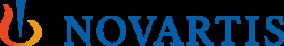 Logo escrito Novartis em azul