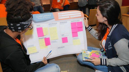 Duas meninas segurando uma cartolina com a metodologia Lean Canvas. As meninas estão sentadas e olhando para o cartaz, elas usam agasalho e calça jeans.