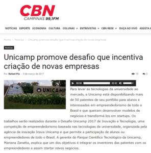 CBN CAMPINAS INOVAÇÃO TECNOLOGIA EMPRESAS CONVÊNIO PESQUISA CONHECIMENTO EMPREENDEDORISMO