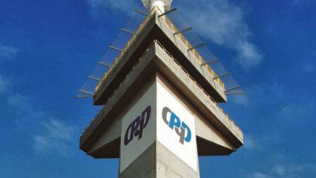 Foto de torre doi CPqD com logo do centro