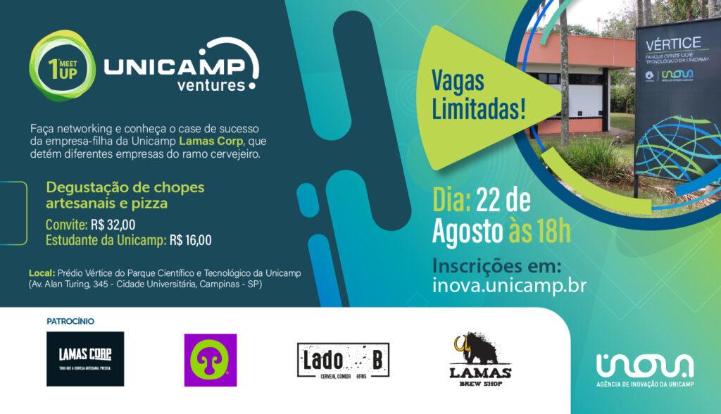 Arte em azul com foto do prédio vértice e logos dos patrocinadores Lamas Corp, Cervejaria Cogumelo, Lado B e Lamas Brew Shop