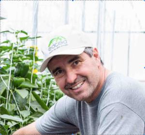 Foto de Andrés Silva ao lado das plantas na estufa, agachado e usando um boné com logo da empresa-filha EACEA