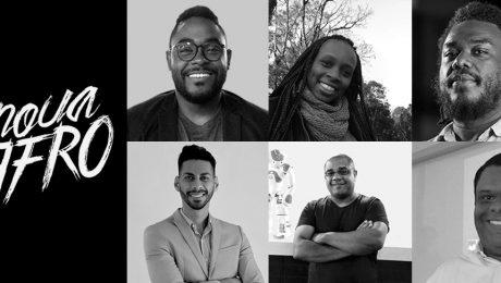 Logo branco do InovaAfro em um fundo preto com foto de seis empreendedores pretos em preto e branco