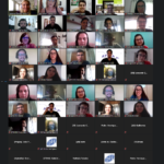 Imagem printada da tela do computador mostrando os participantes de câmera aberta da reunião entre a Inova Unicamp e as Empresas Juniores.