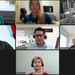 Print da tela do zoom com a câmera ligada dos palestrantes e dos organizadores do webinar, totalizando 7 pessoas.