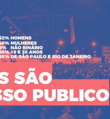 Arte ilustrativa de cor azul com elementos em rosa. Na arte está escrito: Eles são nosso público, fazendo referências aos números de porcentagem presentes também na arte, sobre os participantes do evento Campus Party. Sendo eles: 52% homens, 40% mulheres, 8% não binário, 56% de 18 a 35 anos e 65% de São Paulo e Rio de Janeiro.